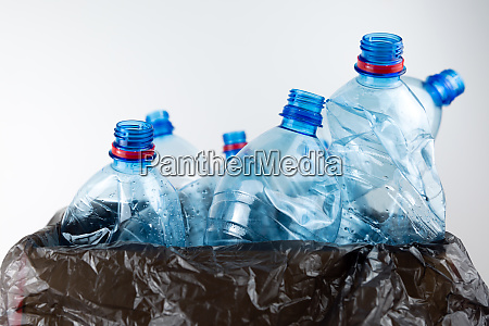 composition with plastic bottles of mineral