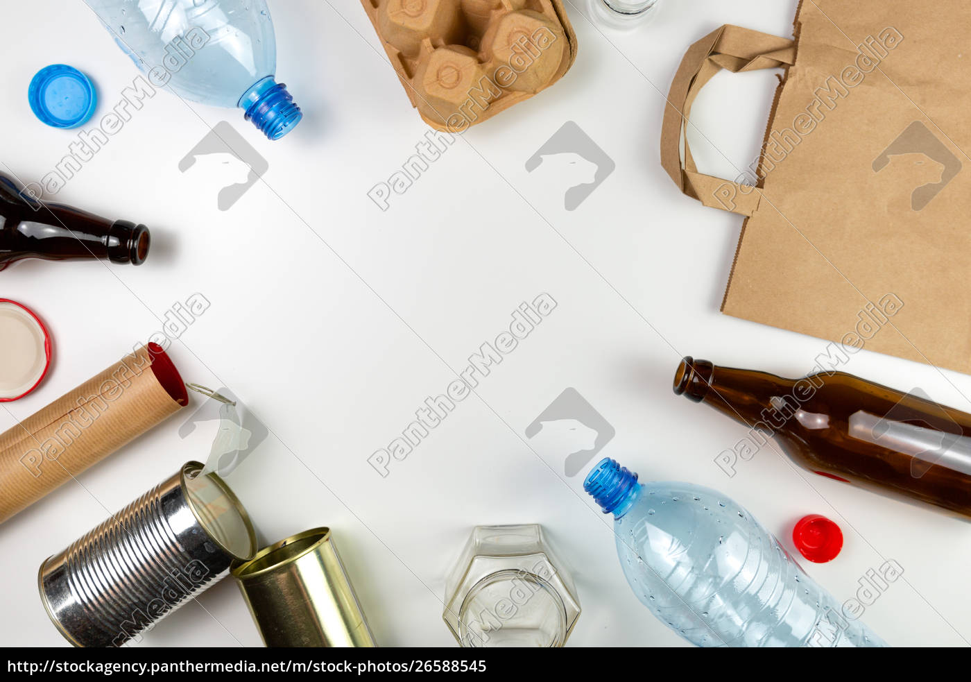 plastic, , glass, , metal, and, paper, garbage - 26588545