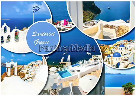 set of different santorini photos rest