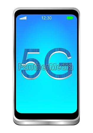 smartphone with 5g on blue desktop