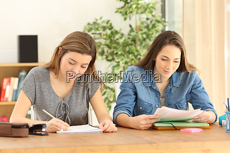 studious students doing homework at home