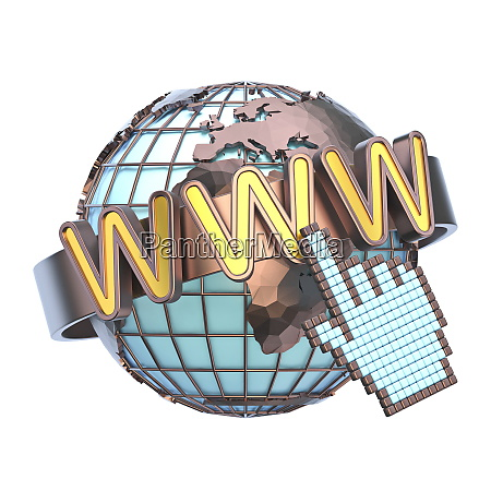 www concept with earth globe 3d