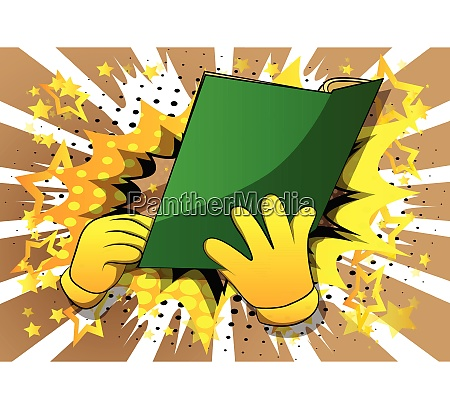 cartoon hand holding a book