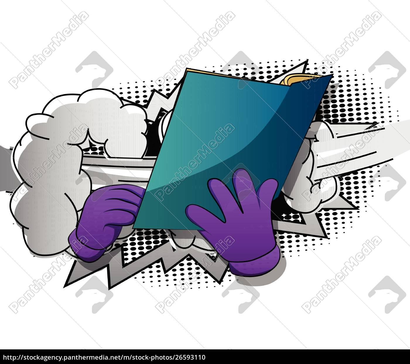 cartoon, hand, holding, a, book. - 26593110