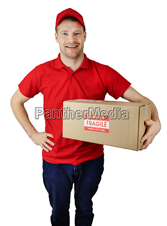 delivery service courier in red uniform