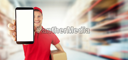 young smiling delivery service courier showing