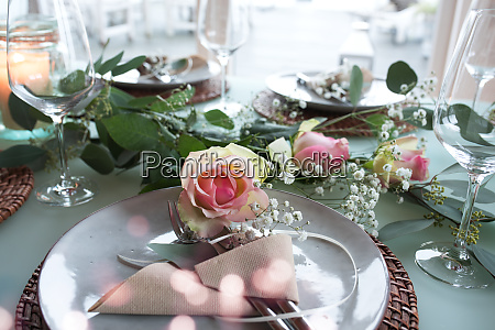 festive decorated wedding table
