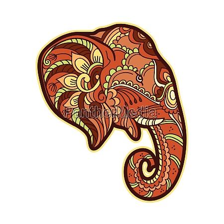 drawing stylized elephant head freehand sketch
