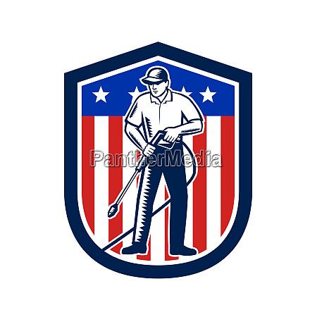 american pressure washing usa flag shield
