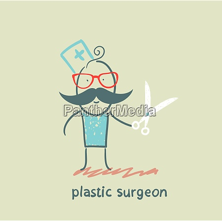 plastic surgeon with scissors