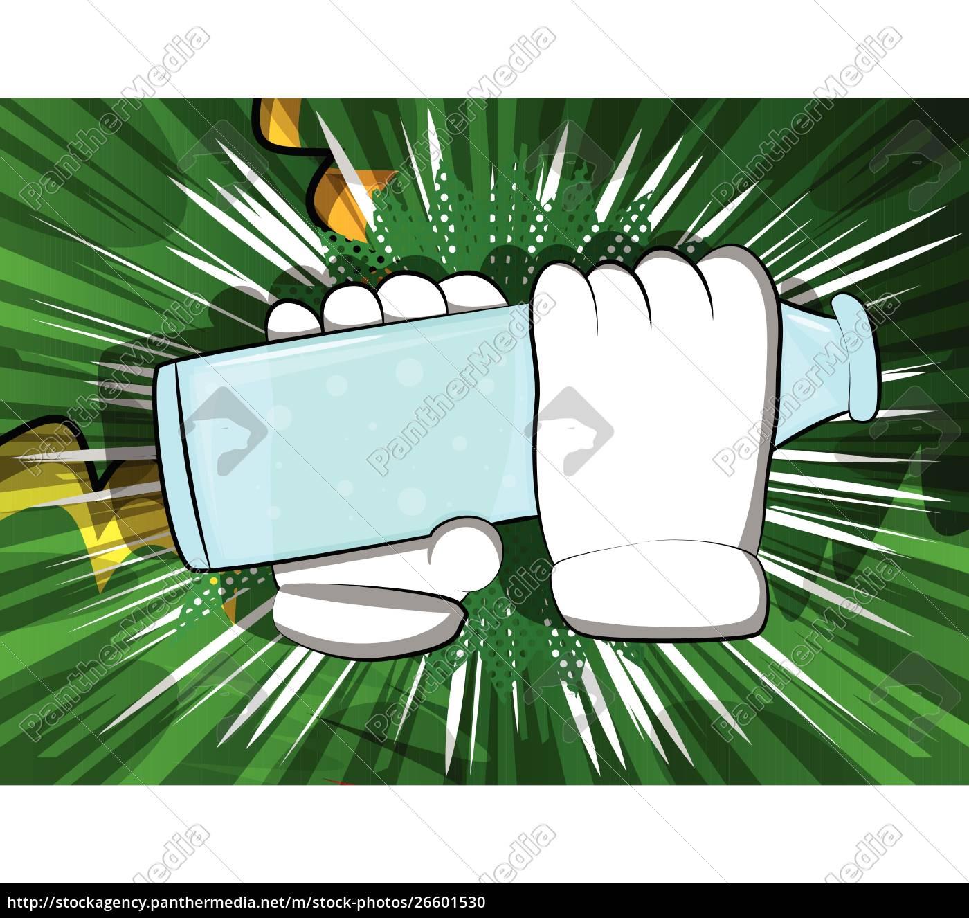 cartoon, hands, holding, a, beer. - 26601530