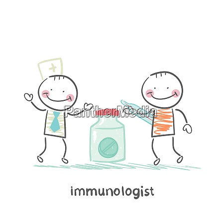 immunologist giving pills to a patient