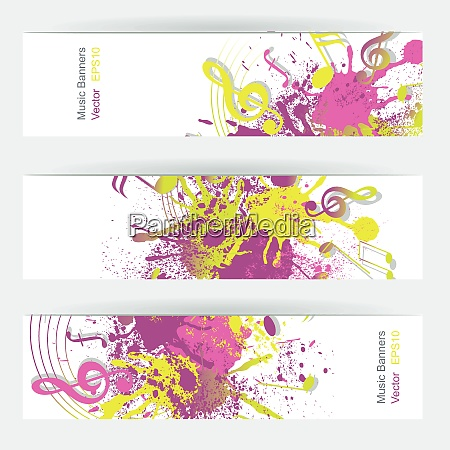 music notes banner design vector illustration