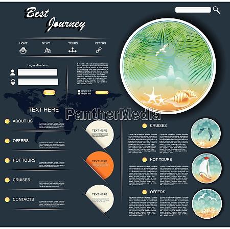 vector travel website design template