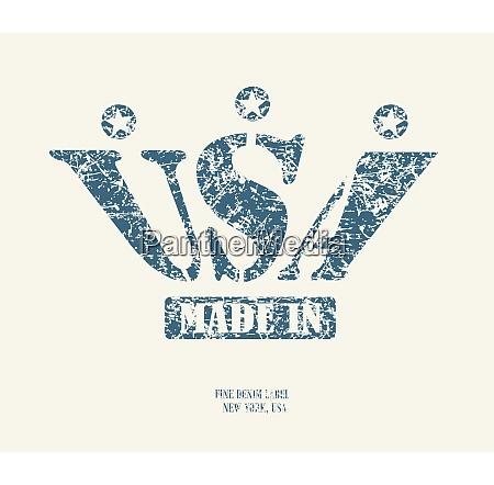 vintage denim typography made in usa