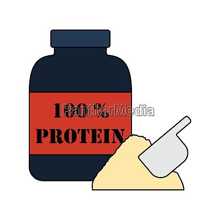 flat design icon of protein conteiner