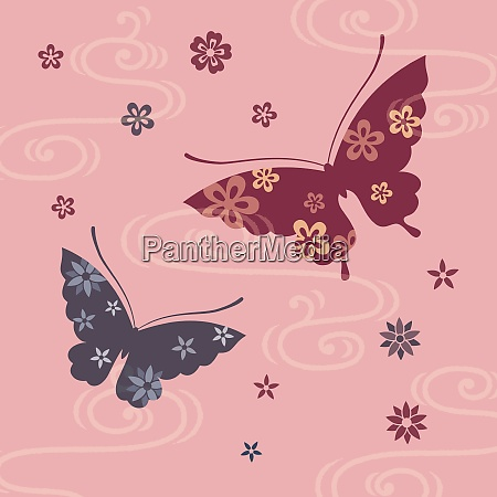 butterfly and flower japanese style illustration
