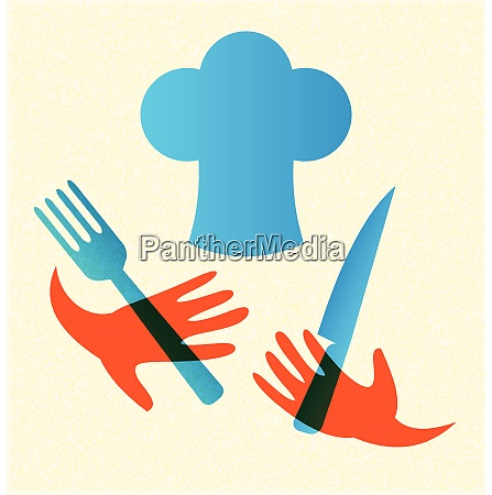 chef with knife and fork icon