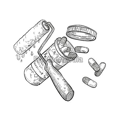 paint roller medicine pill bottle drawing