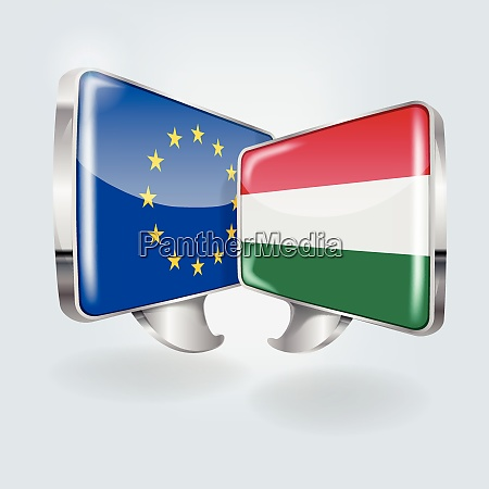 speech bubbles with europe and hungary