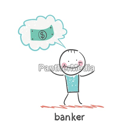 banker thinks about money