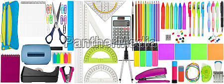 set collection of colorful school office