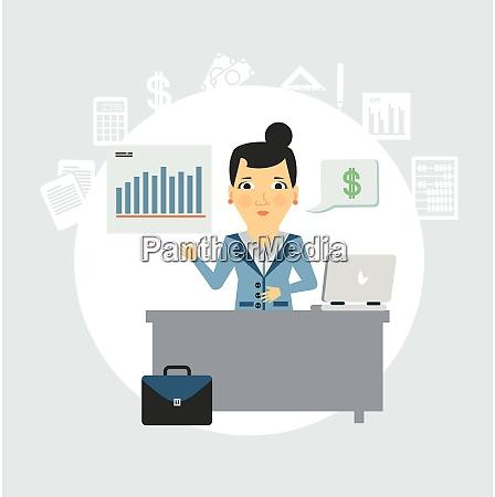 accountant sitting behind a desk illustration