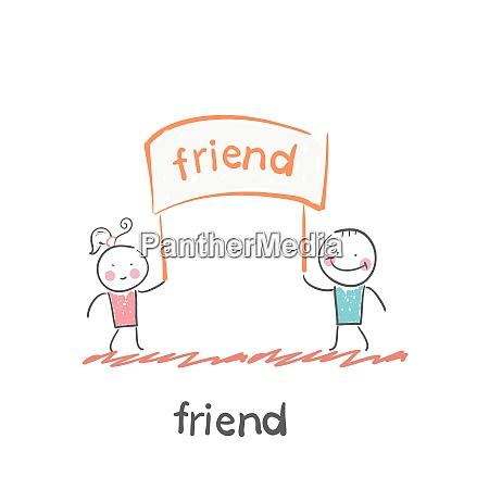 friend fun cartoon style illustration the