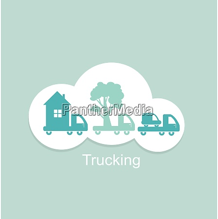 trucking houses cars trees icon flat