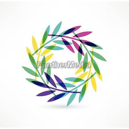 leaves icon natural motive logo design