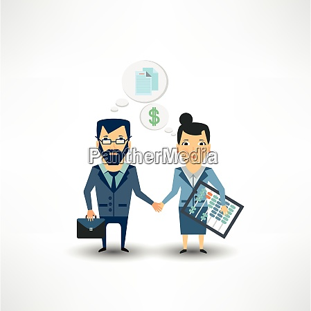 accountant shakes hands with partner companies
