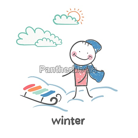 winter fun cartoon style illustration the
