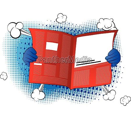 cartoon hand holding a newspaper