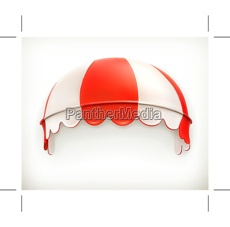 red an white striped awning excellent