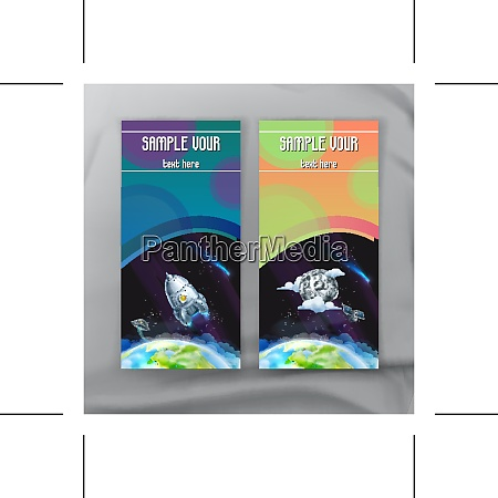 set of space flyers brochure template