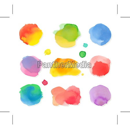 watercolor painting vector icon set