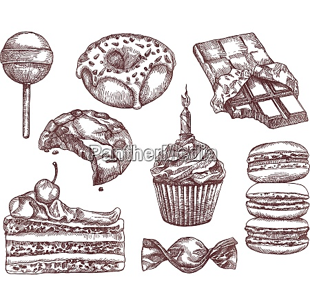 confectionery sketches hand drawing vector set