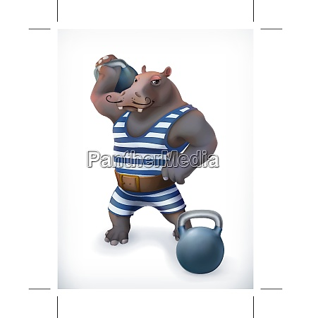 hippo circus athlete funny character vector