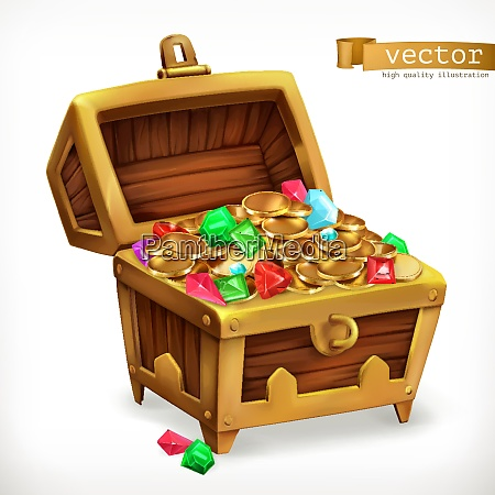 treasure chest gems and gold coins