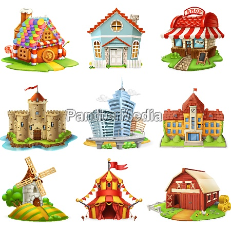 houses and castles buildings 3d vector