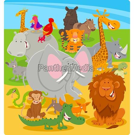 cartoon cute animal characters group