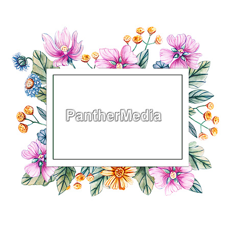 floral square frame of watercolor wildflowers