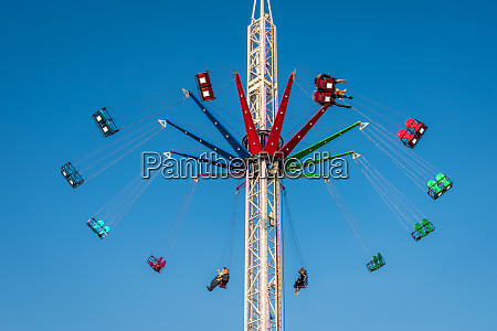high exciting carousel ride on a