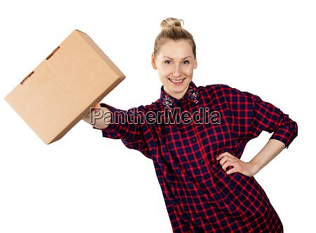 smiling woman with blank cardboard box