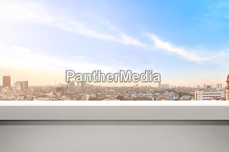 empty balcony with modern cityscapes and