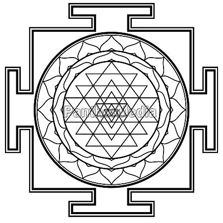 black white mandala sri yantra chakra