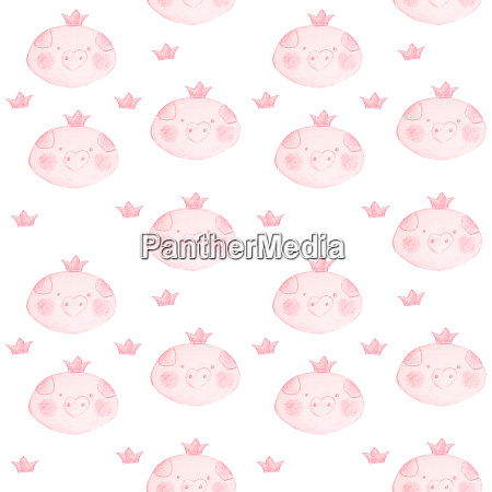 funny seamless pattern with jumping piglets