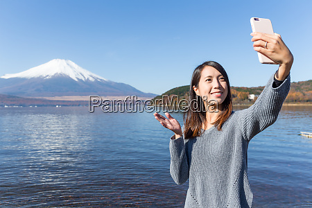 woman having video call in mount