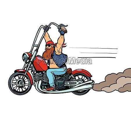 biker on chopper motorcycle transport