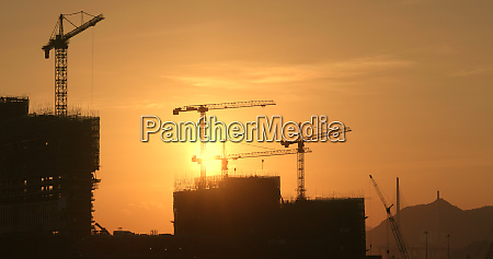 silhouette of the construction site on